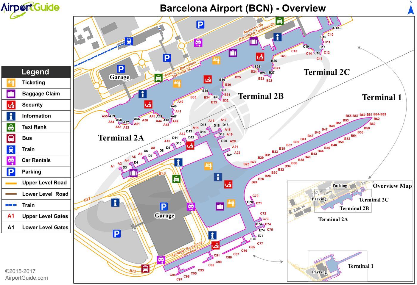 Barcelona Bcn Aeroporto Mapa Mapa Do Aeroporto De Barcelona