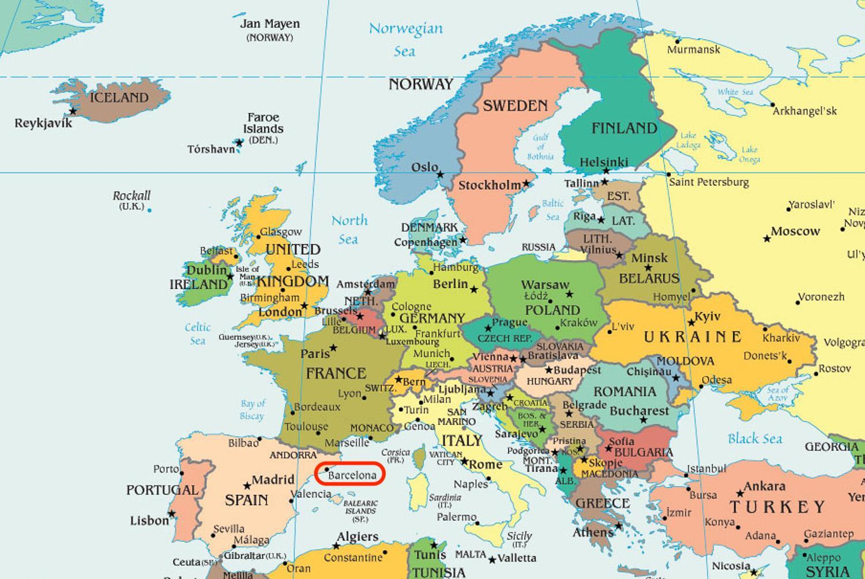 Barcelona Mapa Da Europa Mapa Da Espanha Mostrando Barcelona