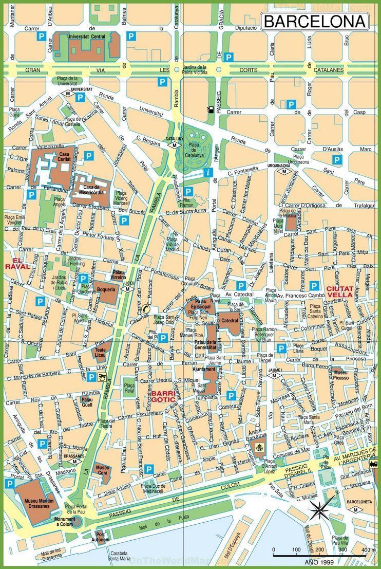 Mapa Do Centro Da Cidade De Barcelona Mapa Do Centro Da Cidade