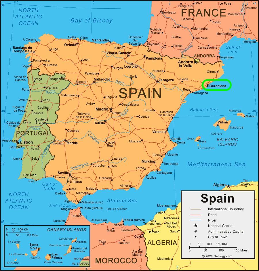 O Barcelona No Mapa Mapa De Barcelona No Mapa Catalunha Espanha