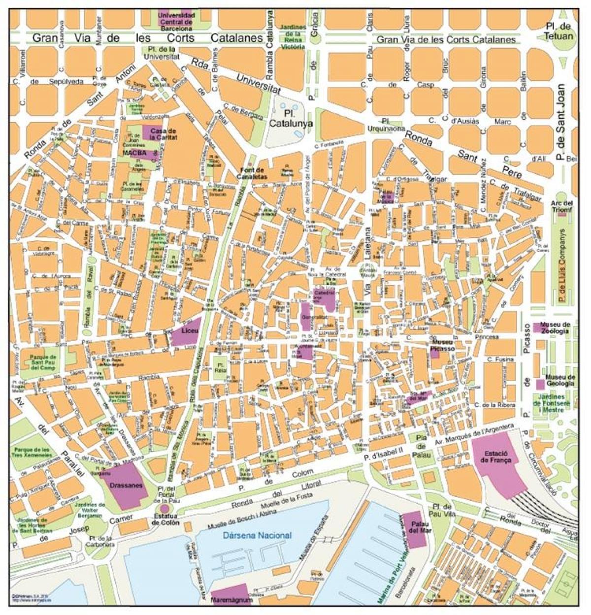 Barcelona Antigo Mapa Da Cidade Velho Mapa De Barcelona