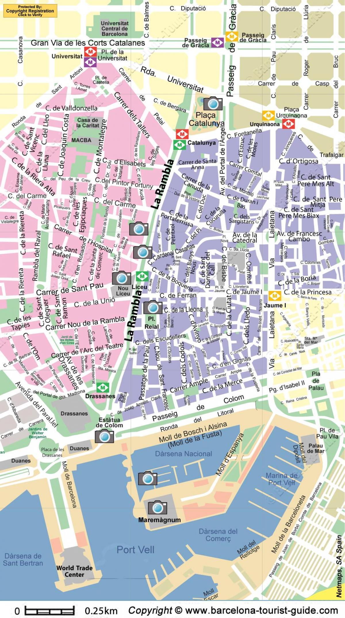 Mapa De Ruas De Barcelona Espanha Barcelona Main Street Map